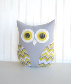 owl pillow decorative grey and yellow owl par whimsysweetwhimsy, $38.00