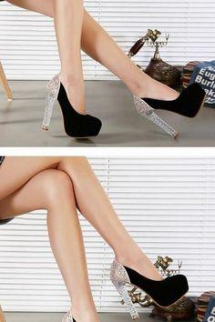 Sexy Black Crystal Heels Shoes