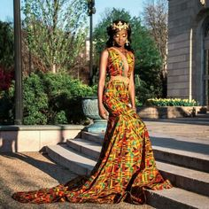 Kente Prom Dress | African Print Dresses | African Clothing Styles  Price: 157.50   #kentedresses