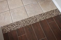 Tile to Tile Transition using a mosaic. New tile is Florida Tile Berkshire Maple 46 Modest Interior Ideas To Rock Your Next Home – Tile to Tile Transition using a mosaic. New tile is Florida Tile Berkshire Maple Source Living Room Flooring, Kitchen Flooring, Maple Flooring, Transition Flooring, Tile To Wood Transition, Floor Design, House Design, Moise, Wood Look Tile