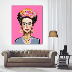 Frida Kahlo Print roses 8 x 10 12x15 16x20 by DevinePaintings