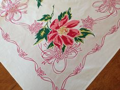Vintage 1950's Tablecloth Printed Flowers Ribbons by AStringorTwo