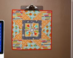 How to display mini quilts pieceful life: mini quilts and clipboards