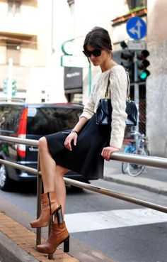 chunky heeled boots and skirt