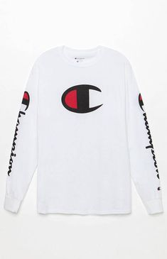 Keep your laidback style intact with help from the Champion Big C Long Sleeve T-Shirt. It has a crew neck, ribbed detailing, and bold Champion logos on the chest and sleeves. Swag Outfits Men, Trendy Outfits, Sport Outfits, Kids Outfits, Cute Outfits, Champion Wear, Champion Shirt, Kids Clothing Brands List, Clothing Stores
