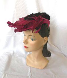 1940's Vintage Tilt Hat with Fuchsia Feathers by MyVintageHatShop, $109.00