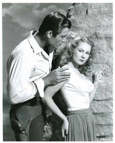 Clint Walker & Virginia Mayo on the set of Fort Dobbs, 1958,