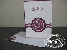 Stampin' Up! Scallop Circle punch, Circle punch, Honeycomb Embossfolder, Serene Silhouette stamp set, Sassy Salutations stamp set