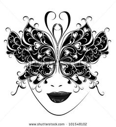 Masquerade mask tattoo | Carnival Mask. Butterfly Masks For A Masquerade. Stock Photo 101548102 ...