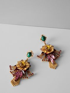 Add a touch of elegance to your look with this gorgeous Swarovski crystals with a modern twist on vintage inspiration. Accessorize your LBD with a burst of color with this gold plated floral earring | Banana Republic