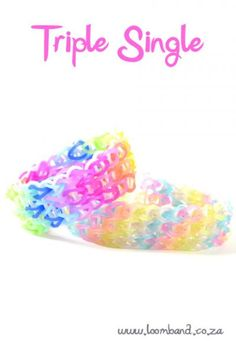 How to make a Rainbow Loom Triple Single bracelet - tutorial