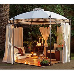 Just Home Collection Gazebo Pergolado Redondo com Cortinas Branco Casa Patio, Backyard Patio, Outdoor Rooms, Outdoor Living, Outdoor Decor, Backyard Projects, Outdoor Projects, Hut House, Garage Exterior