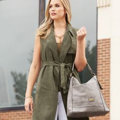 NEW!  Fashion CONCEALED CARRY from Saint Sabrina.  The Moxie Asymmetrical Hobo in Light Grey.