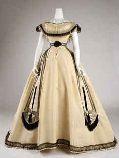 Victorian ball gown, gold + black