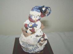 NIB Boyds Bear Snowman Pequin Ornament Folkstone Figurine