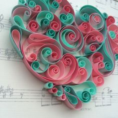 Pink & Mint Green Heart by Itisonlypaper on Etsy