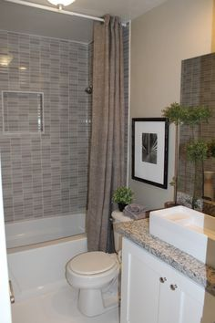 Bathroom Inspiration. Contemporary Shower Tub Combo Amazing Showering Designs: Terrific White Standart Bathtub With Gray Mosaic Wall Ceramic...
