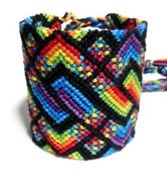 Huge Friendship Bracelet Cuff - Bright - Colorful - Rainbow