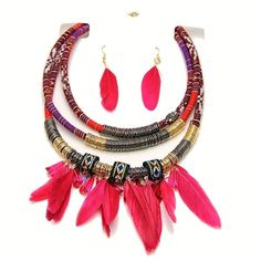 Tribal Leather Cord and Feather Collier Necklace Set W/ Metal Spring Accents