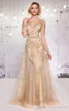 Long Sleeve Evening Dresses 2015 Gold Lace Appliques Beads Formal Dress A-Line Sheer Crew Mother of the Bride Long Evening Gowns with Belts from Excellentdress,$156.03 | DHgate.com