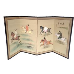 #japanesebyobuscreen #japanesesilkscreen #japaneseequestrianscreen #byobufoldingscreen #japanesetablescreen   Japanese Equestrian Byobu Screen by ErinLaneEstate on Etsy
