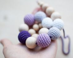 Teething necklace / Crochet nursing necklace Shades by SvetlanaN