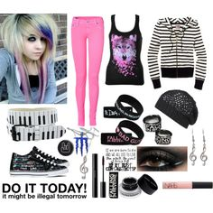 Falling in reverse Scene Outfits, Punk Outfits, Cool Outfits, Fashion Outfits, Mode Rock, Fandom Outfits, Outfit Combinations, Scene Style, Emo Style