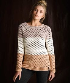Crocheted Colour Block Sweater. PDF button not working so print preview the file and save to PDF