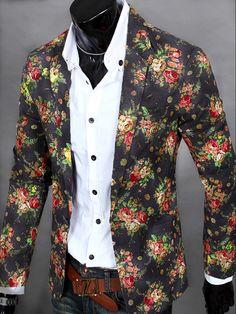 204a9ea2b4f Men s Floral Slim Blazer Floral Suit Men