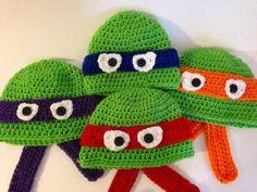 touca de croche tartarugas ninjas - art crochê