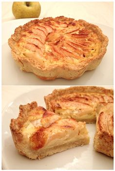 Tarte aux Pommes Alsacienne Ingrédient secret: la bonne variété de pommes!! Canada :-) - 1 pâte sablée (faite maison.. of course) - 3-4 pommes canada - 2 oeufs - 15cl de crème fraîche liquide + 5cl de lait (ou 20cl de crème) - 60g de sucre - 1...