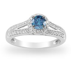 Women's 14k White Gold Blue and White Diamond Engagement Ring (3/8 cttw I-J Color, I1-I2 Clarity), Size 6
