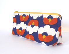 Blue Orange Flower Bud Make-up Zipper Pouch // Stationery Pencil Case