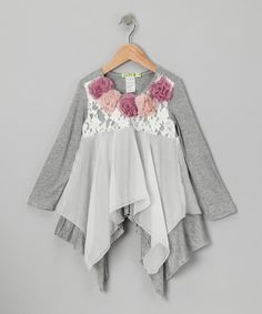 Take a look at this Gray Berry Mocha Sidetail Top - Toddler & Girls on zulily today!