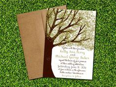 NEW Oak Tree Wedding Invitation/RSVP Card or by WildHeartPaper