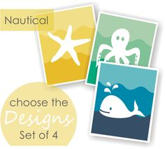 Nautical Nursery Art Set of 4 CHOOSE IMAGES & by twowhiteowls