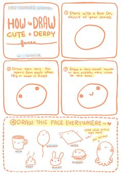 How to draw cute + derpy! THIS IS SO CUTE! could be used for chibi's or kawaii drawings!