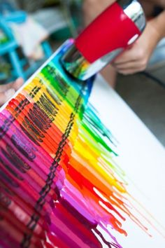 Melted crayons art!!  Get crayons and hot glue them to a canvas after the glue is dried get a blow dryer on high heat but low air ( it'll splatter) blowdry the crayon to how much you want them melted