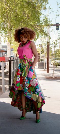 This African wax print high low skirt is irresistible! Everything about this skirt is classy and vibrant. Now I see why African print is all the rave. I need this patchwork beauty in my war African Print Skirt, African Print Dresses, African Print Fashion, Africa Fashion, African Fabric, Fashion Prints, African Prints, African Dresses For Women, African Attire