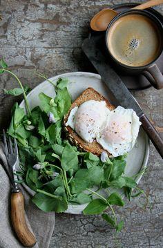 Poached Guinea Eggs and Pea Shoots