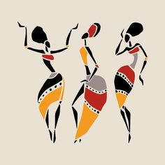 Illustration about Figures of african dancers. Dancing woman in ethnic style. Illustration of female, design, african - 50265393 Worli Painting, Fabric Painting, Arte Tribal, Tribal Art, Art And Illustration, Art Afro, Afrique Art, African Art Paintings, Art Premier