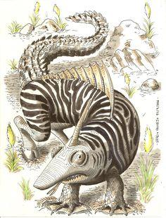Le Caretorzecanpoicercro (descendant du : caméléon, requin, tortue, zèbre canard, poisson, cerf et crocodile)