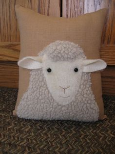 Sweet faced woolly sheep pillow.....Looking at by Justplainfolk