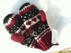 Kristas+Mittens++Burgundy+Black+Aran++Hand+Knit++by+NanasKnits,+$35.00