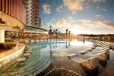 The swim up bar and pool loungers at Hard Rock Hotel Tenerife. Tenerife, Swimming Pool Tiles, Swim Up Bar, Hotel Pool, Hard Rock Hotel, Island Resort, Canary Islands, What Is Like, Mansions