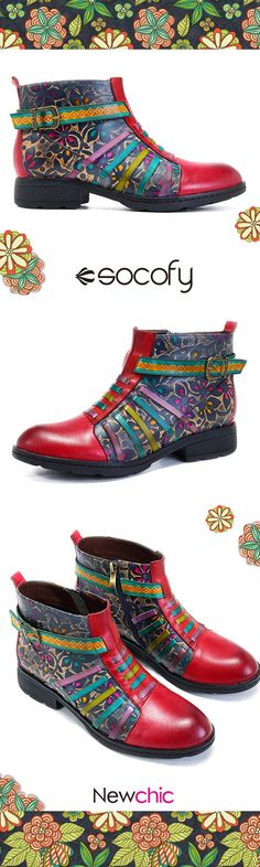 US$59.32  SOCOFY New Printing Retro Splicing Stripe Pattern Flat Leather Boots