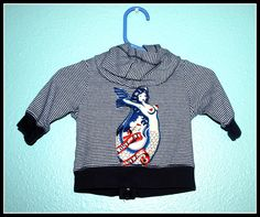 Boys Rockabilly Lost at Sea Hooodie....size 3 months by DollfaceBettys on Etsy