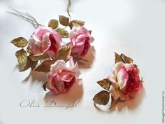 Купить Староанглийские розы брошь и букет - розовый, брошь, брошь цветок, брошь ручной работы