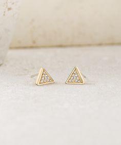 Pavé Triangle Stud Earrings #makeitpersonal
