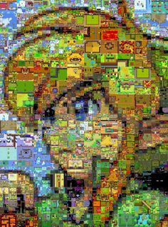 Link Photomosaic made of 2D Legend of Zelda Screenshots.